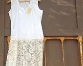 RESERVED for Amy white lace dress, rustic women clothes, eyelet, upcycled, party, bride, holiday