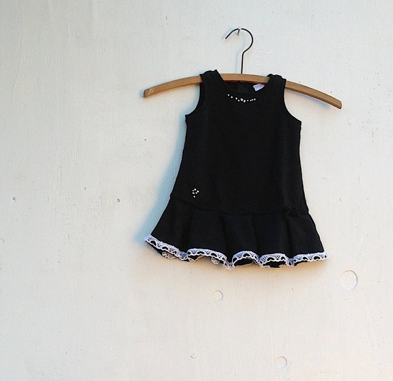 classy baby black jumper black knit summer spring embroidery upcycled embellished, classic little girl lace dress