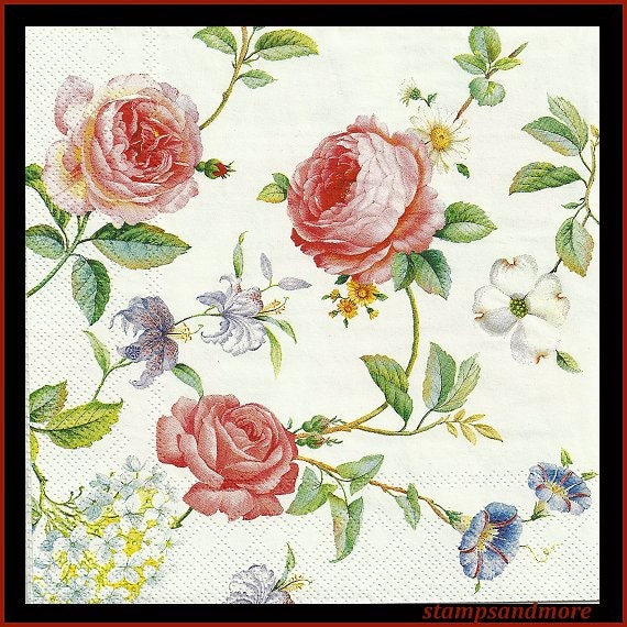 4 Decoupage Paper Napkins Roses Flowers Use For