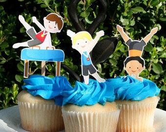 DIY Print at home Gymnastics Party - Boy Gym Cupcake Toppers - Gymnast Boys - Cake Toppers - Cake Decoration - Gym Party Decor - Boy Gymnast
