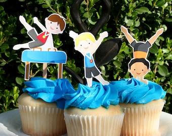 Gymnastics Party - Boy Gym Cupcake Toppers - Gymnast Boys - Cake Toppers - Cake Decoration - Gym Party Decor - Boy Gymnast - Set of 12