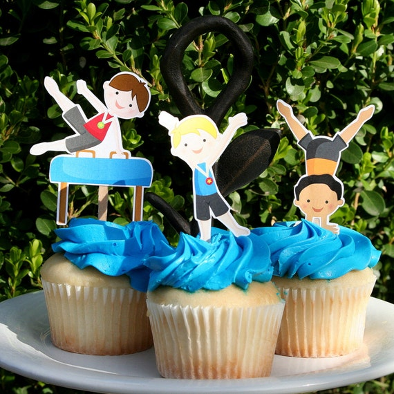 Gymnastic Cake Decorations Uk : DIY Print at home Gymnastics Party Boy Gym Cupcake Toppers