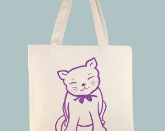 Maneki Neko Cat lllustration on 15x15 Canvas Tote - other sizes  and personalization available - image in ANY COLOR