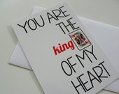 Funny Romantic Card King of Hearts Valentine Card Love Card Valentines Day Card for Him Card for Husband Card for Boyfriend