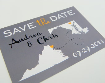 Wedding Save the Date Post Card Custom State Wedding Map Set of 48- Love Will Find A Way Series