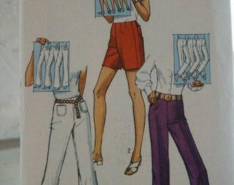 Vtg Women's 1970 Hippie Era Boho  Shorts or Bell Bottom Pants or Cuffed Straight Pants Sewing Pattern 9217  Size 10 Waist 24
