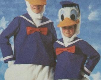 Uncut  1986 Simplicity Walt Disney's Donald Duck Child Boy Girl Costume Halloween Play  7731 Sewing Pattern Size 6 - 8