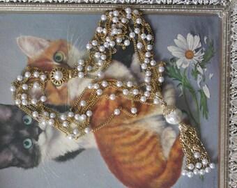 Pearl Tassel Vintage Gold Repurposed Necklace