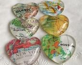 "Glass Fridge Magnets Real  World Map (1 magnet) 1"" Destination Wedding, heart shape Corporate gifts, Bridal Shower favors"