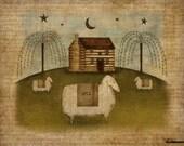 Log Cabin, Sheep Primitive Folk Art  8.5 x11 Download