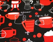Coffee Fabric, Red/White/Black Fabric, Latte Fabric, Bistro Fabric, Diner Fabric, Robert Kaufman, Fabric by the Yard, Custom Cuts Available