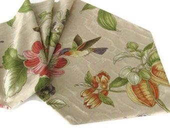 SALE!!! Table Runner Hummingbird  Floral Print   Ready To Ship Handmade in the USA