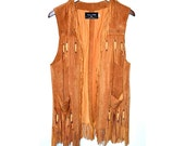 SALE Vintage 1960s Suede Fringe Vest - Patricia Wolf Hand Painted Vest - Beaded & Bone Detail Tan Vest  - Size Small - Mint