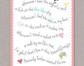 "PRINTABLE 8x10 poster ""My Heavenly Father Loves Me"" nursery song -- PDF digital file"