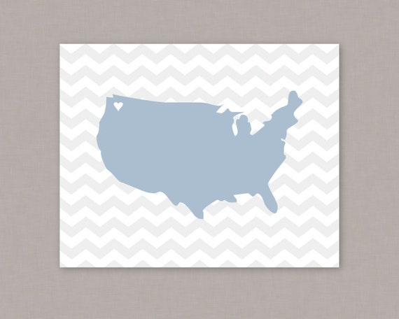 United States of America heart chevron map 8x10 PRINTABLE poster - PDF Digital File