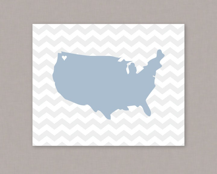 United States Of America Heart Chevron Map X PRINTABLE - Us zoomable map states pdf
