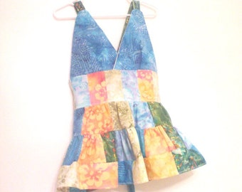 Custom Made Patchwork Hippie Baby Doll Apron Top - Bohemian Halter Top