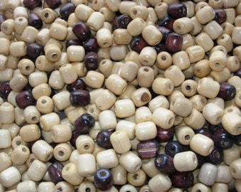 """Blond or Brown Wooden beads 1/2"""" x 1/2""""  (12mm x 12mm)"""