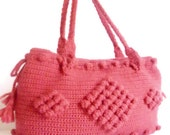 Christmas Rose color Crocheted Handbag afghan crochet pink bag spring fashion bag mother day gift tote purse - modelknitting