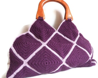 Free shipping HANDMADE & KNITTED BAGS for her, - (purple) seasonal,gift,love,Afghan Crochet Bag, Handbag