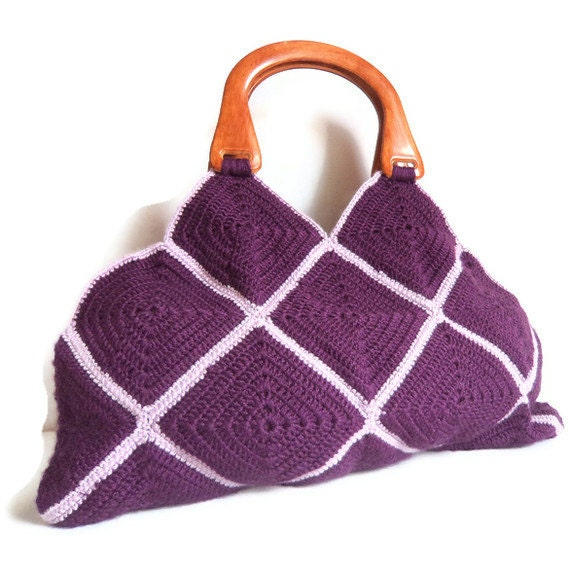 Handmade Knitting Bag Pattern : Items similar to Crochet Purple Handbag - Free Shipping on ...