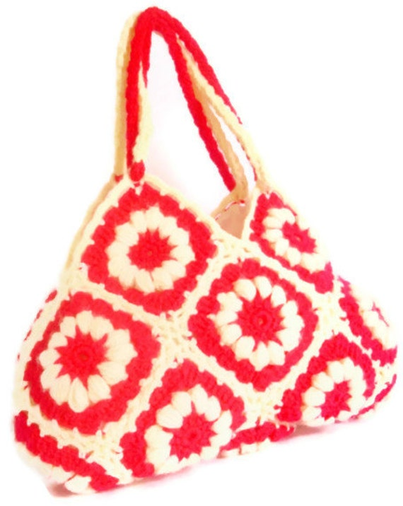 Spring Celebrations Pink White Spring Crochet bag - Summer Bag Afghan Handbag  Shoulder Bag crochet knit bag accessories women accessories