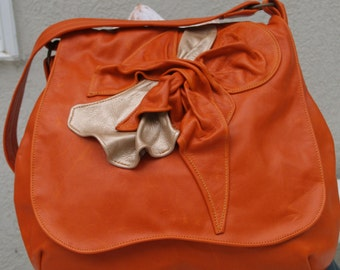 Orange Tangerine and Brushed Gold Leather Hobo Handbag with Sculpted Leather Accent