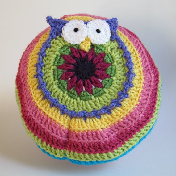 Crochet Pattern - B HOO UR Hat - a colorful slouch owl hat with visor and buttons in 5 sizes (Toddler - Adult L) - Instant PDF Download
