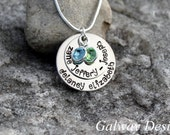 2 Disc Custom Hand Stamped Pendant with SPARKLER/SNAKE Chain - Hand Stamped Mothers Necklace - Personalized Kids Names - Custome Jewelry