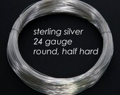 Sterling Silver Wire, 24ga 0.5mm - Round, Half Hard - 1 troy ounce oz
