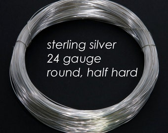 Sterling Silver Wire, 24ga 0.5mm - Round, Half Hard - 10 feet
