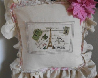 PARIS FRENCH POSTCARD Carte Postale Ruffle Pillow and Insert (1222)