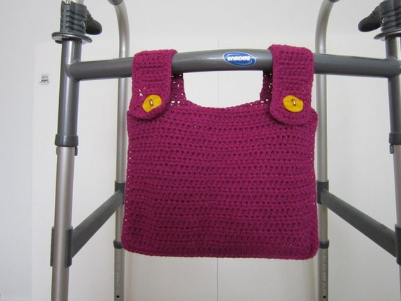 Crocheted Walker Bag Fuchsia Magenta Small Tote Caddy Mobility