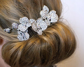 Wedding orchid comb. Vintage inspired crystal wedding comb. Silver crystals bridal hair comb.