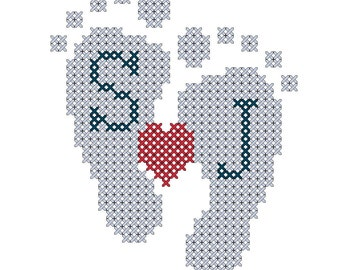 Mini Cross Stitch Pattern Baby Feet with Heart & Initials