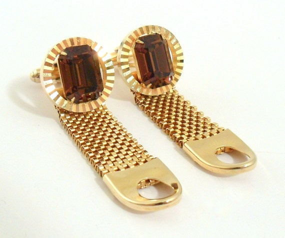 Mesh Wrap Cuff Links Gold Tone w/ Topaz Glass Stones
