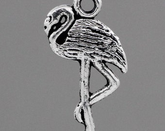 10 Silver Pewter FLAMINGO CRANE BIRD Charm Pendants . chs0708