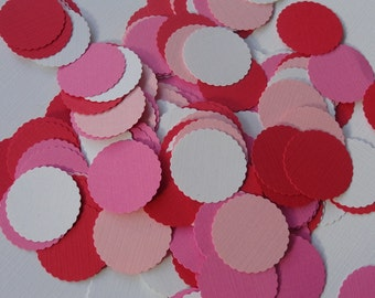 """75 Scalloped Circles 1"""" mix of red pink and white Scrapbooking Embellishments - Confetti - Paper Punch - Die Cuts - table confetti"""