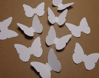 100 White Classic Butterfly Die Cuts Paper Punches Embellishments Confetti