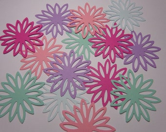 50 Chrysanthemum Flower Die Cuts Paper Punches Embellishments Confetti