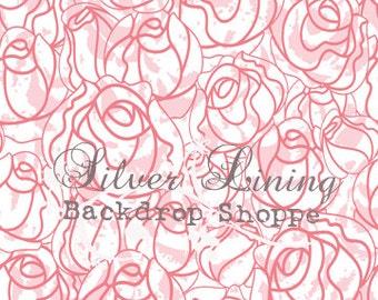 LARGE 5ft x 5ft Vinyl Photography Backdrop /  Spring Rose Doodles