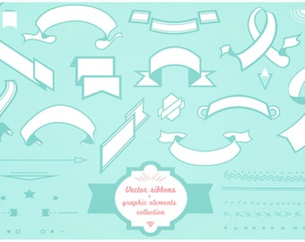 Ribbon Banner set clipart for digital scrapbooking, labels, invitations INCLUDING brown versions