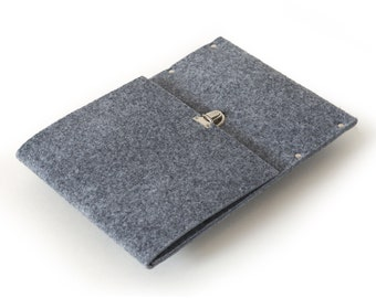 Grey Bag for Microsoft Surface 3. Synthetic Felt Sleeve Cover. Handmade Quality Case fits with Type Cover.