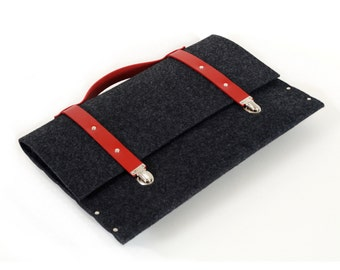 MacBook 15 Retina briefcase rivet sleeve black case synthetic felt briefcase with red leather straps and handle