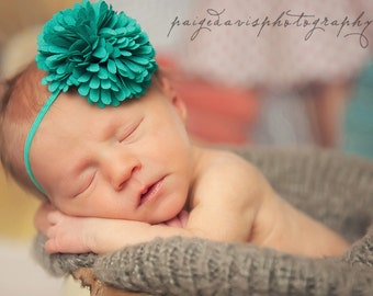 2 PACK FRINGE Collection- Single Chiffon Fringe Flower on Matching Skinny elastic - Spring, Summer, Newborn, Baby Girl