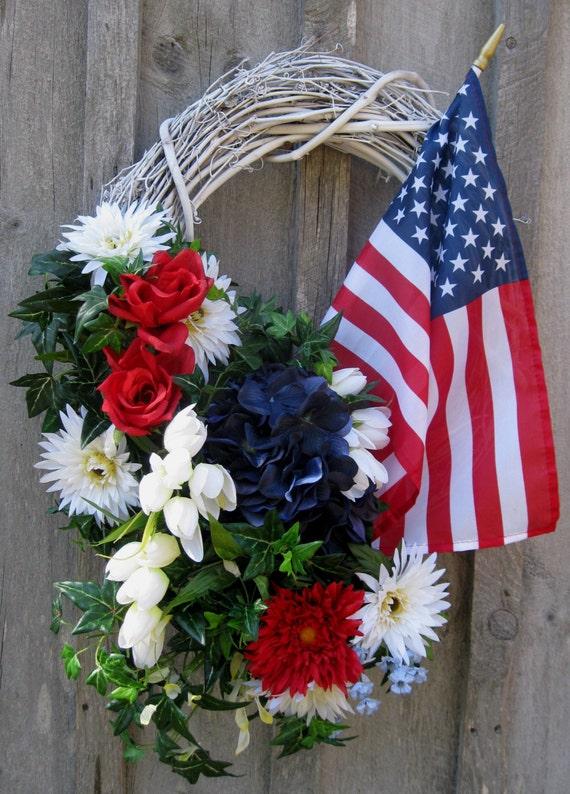 Patriotic Wreath, American Flag Wreath, Patriotic Door Decor, Americana, 4th of July