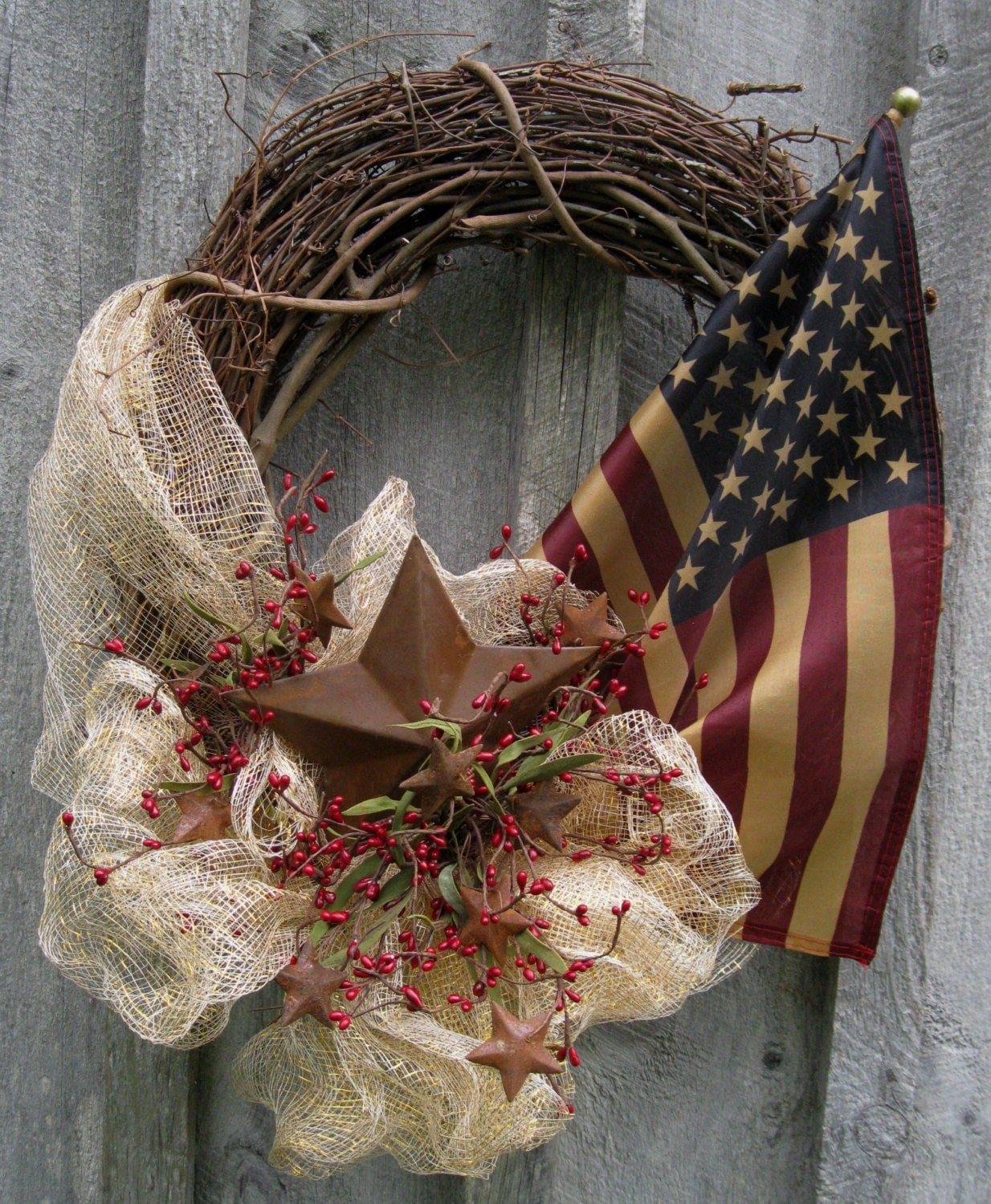 Americana Wreath Patriotic Wreath Fourth Of July Tea
