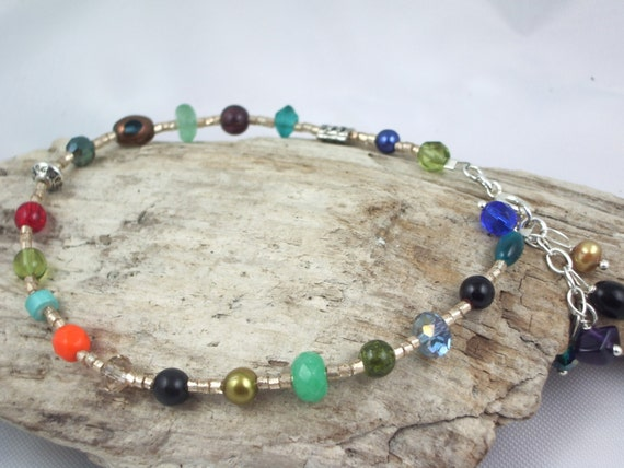 CLEARANCE multi gems anklet with gem charms