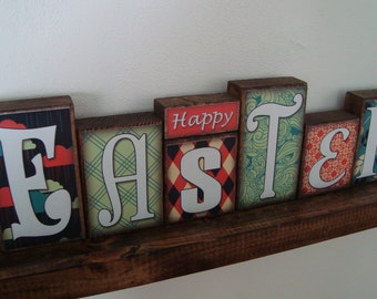 Happy Easter decorative loft blocks--Great spring decoration for the home