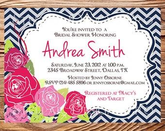 Bridal shower Invitation,Pink Roses Wedding Shower Invitation,Pink, Navy, Chevron Stripes, Flower Invite,digital, printable file, 5137